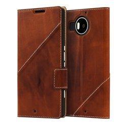 Etui Mozo Thin Flip Cover Brązowy do Lumia 950 XL