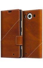 Etui Mozo Thin Flip Cover Brązowy do Lumia 950