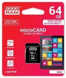 Goodram Karta pamięci microSDHC 64GB CL10 UHS 1 z adapterem (M1AA-0640R11)