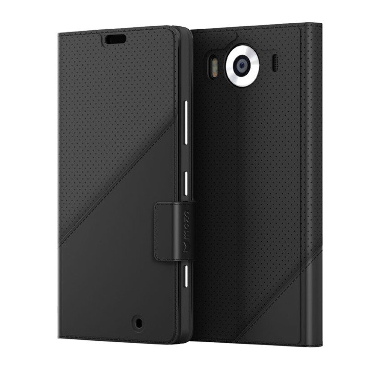 Etui Mozo Thin Flip Cover Czarny do Lumia 950