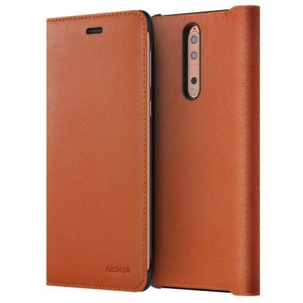Etui Nokia Leather Flip Cover CP-801 Brązowe do Nokia 8
