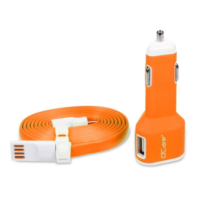 Ładowarka Samochodowa O'Care 2*USB 2400mA Pomarańczowa
